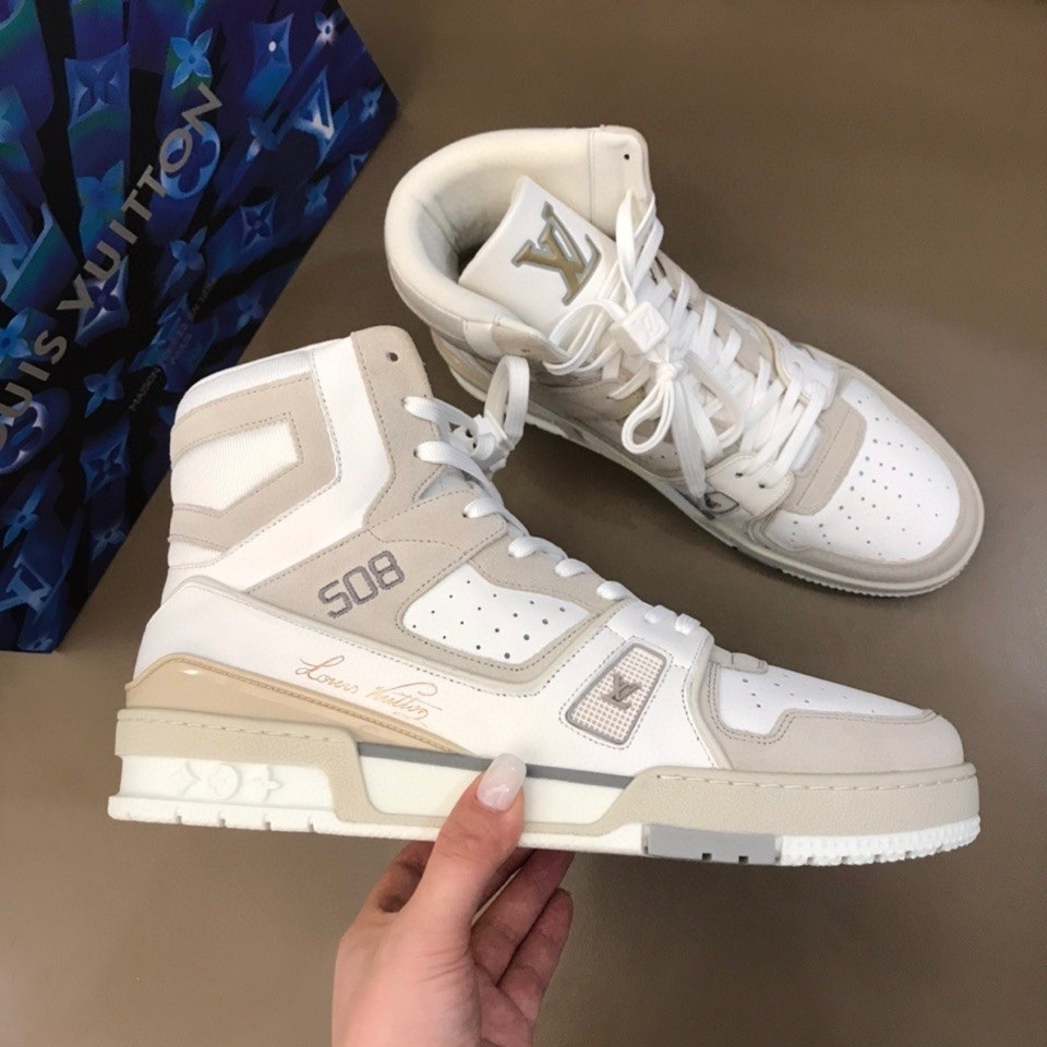 Louis Vuitton Trainer  Hi-Top Boot Mens Sneakers Calfskin Leather Fall/Winter 2020 Collection,  White/Light Gray